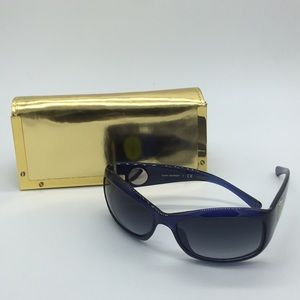 Tory Burch blue sun glasses with gold case